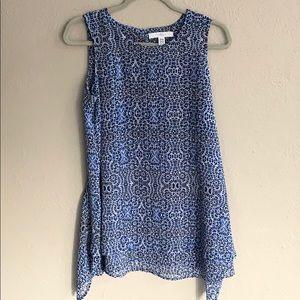 Fever Brand Blue Mix Print sleeveless Blouse